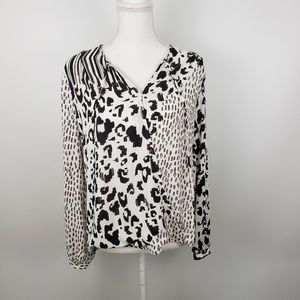 CAbi animal print wrap blouse top long sleeve 590